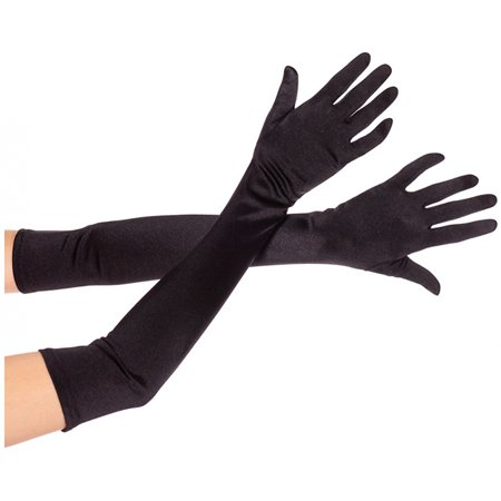 Greatlookz Satin Gloves (Extra Long Satin Gloves Adult Costume Accessory Black )