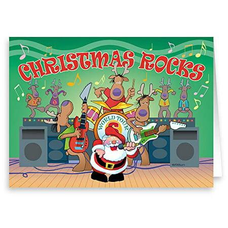 Santa Rock Band- Funny Christmas Card - 18 Boxed Cards & Envelopes - Music Theme Christmas Card - 20098 ()
