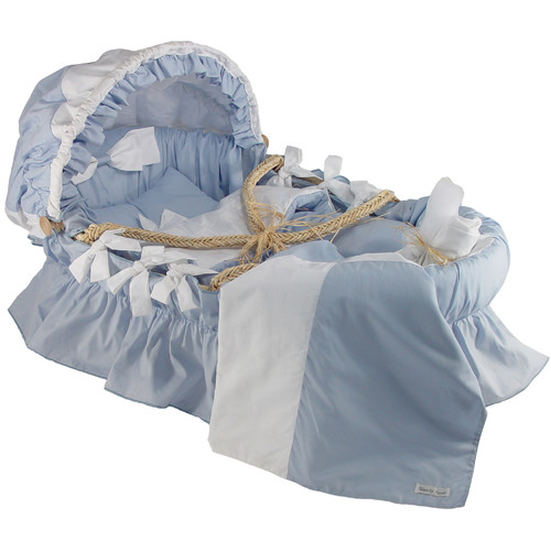Wendy Anne Moses Basket With Egyptian-Quality Cotton Bedding And Canopy