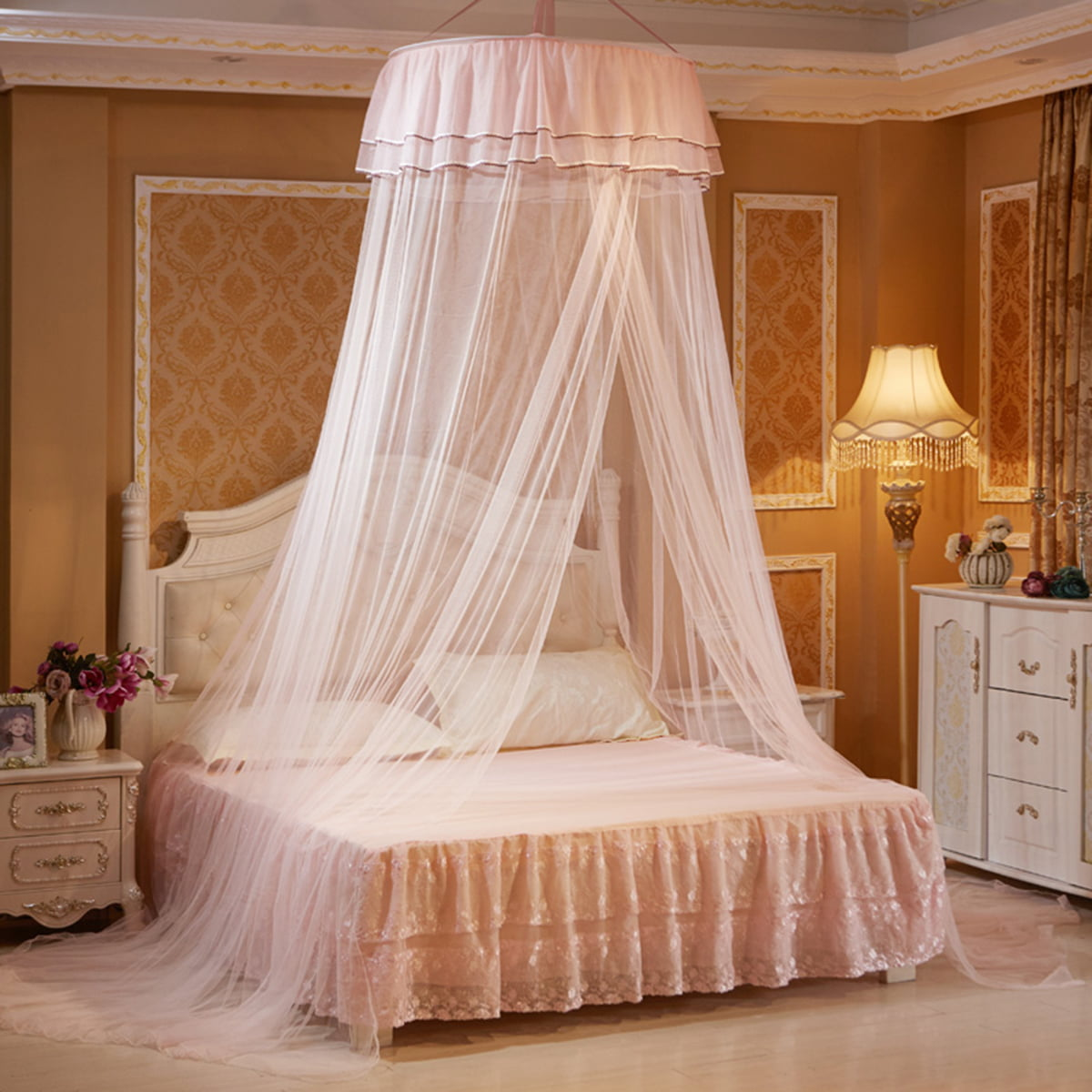 4 Post Hanging Bed Canopy Curtain Netting Fine Mesh Mosquito Net for Summer