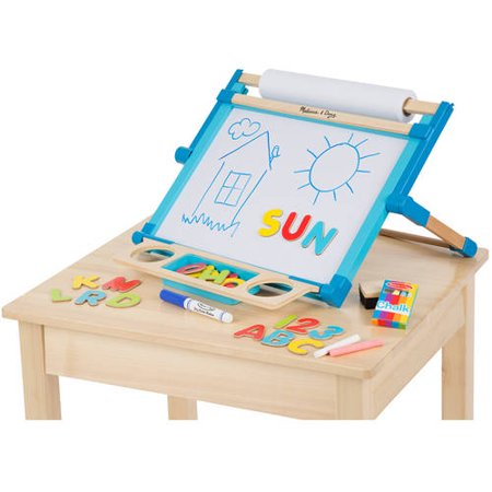 Melissa & Doug Double-Sided Magnetic Tabletop Art Easel - Dry-Erase Board and Chalkboard (Kids Chalk Board)