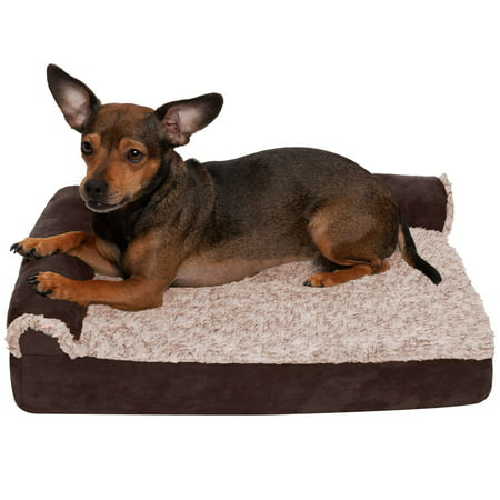 FurHaven Pet Dog Bed | Deluxe Orthopedic Faux Fur & Suede L-Shaped Chaise Couch Pet Bed for Dogs & Cats, Espresso, Small