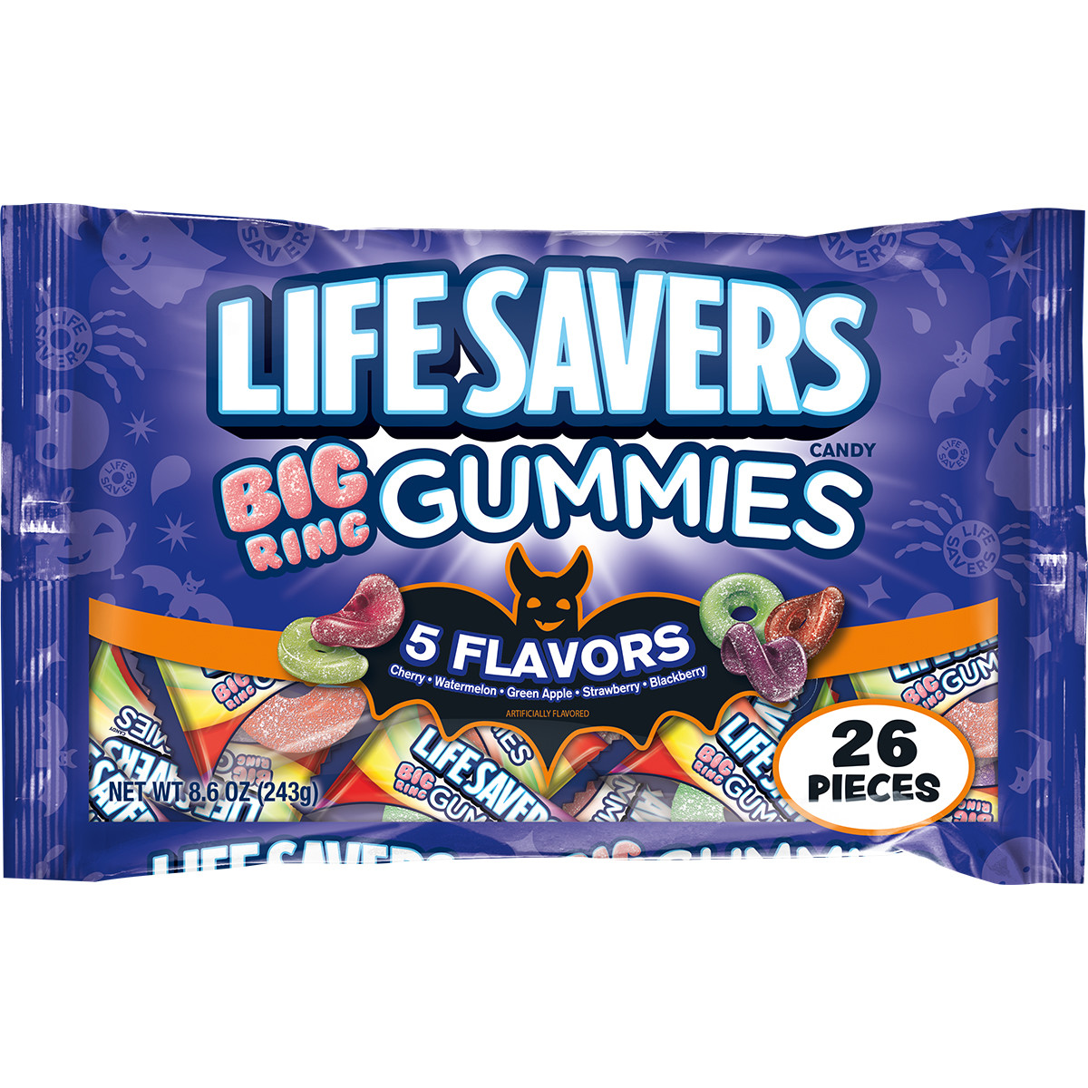 Lifesavers 5 Flavors Big Ring Gummies Halloween Candy Bag, 26 Fun Size Pieces, 8.6 ounces