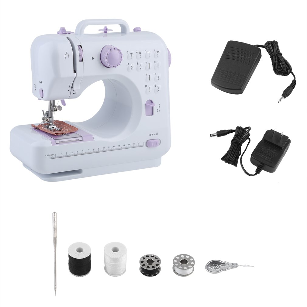 BCP 6V Compact Sewing Machine w/ 12 Stitch Patterns, Sewing Light, Drawer, Foot Pedal - White