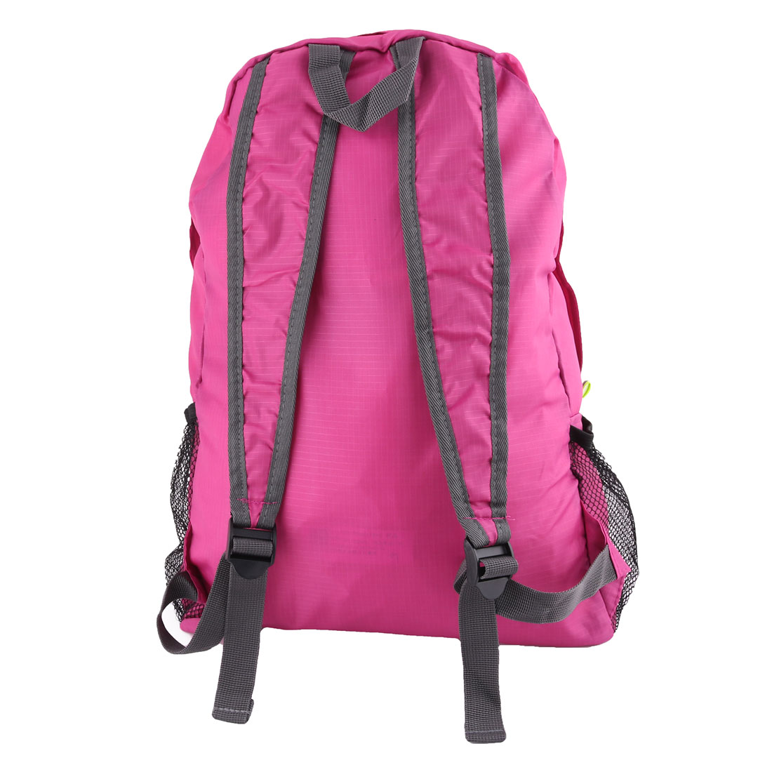 14abb39155 Unique Bargains Outdoor Travel Nylon Water Resistant Clothes Storage Bag  Backpack Fuchsia