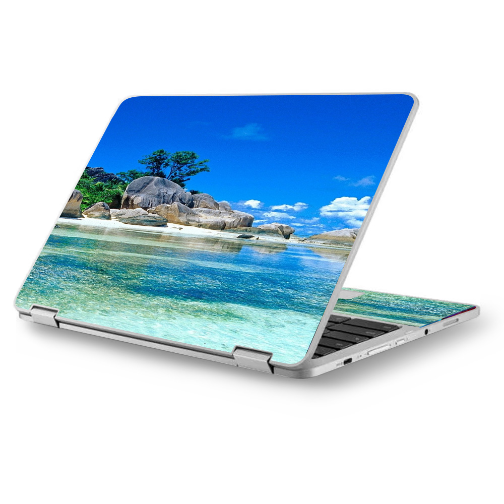 "Skins Decals for Asus Chromebook 12.5"" Flip C302CA Laptop Vinyl Wrap / Island Paradise Beach"