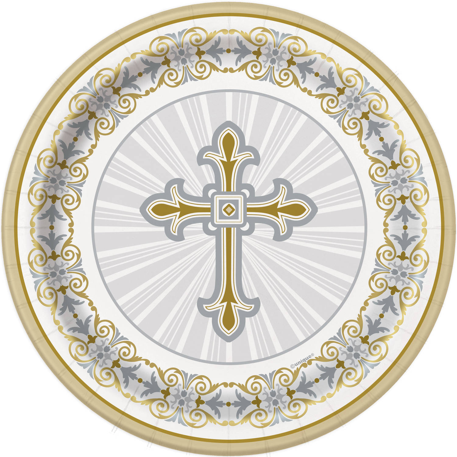 "7"" Gold and Silver Radiant Cross Religious Paper Dessert Plates, 8ct"