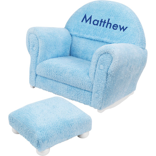 KidKraft - Personalized Powder Blue Chenille Rocker and Ottoman, Blue Block Font Boy's Name