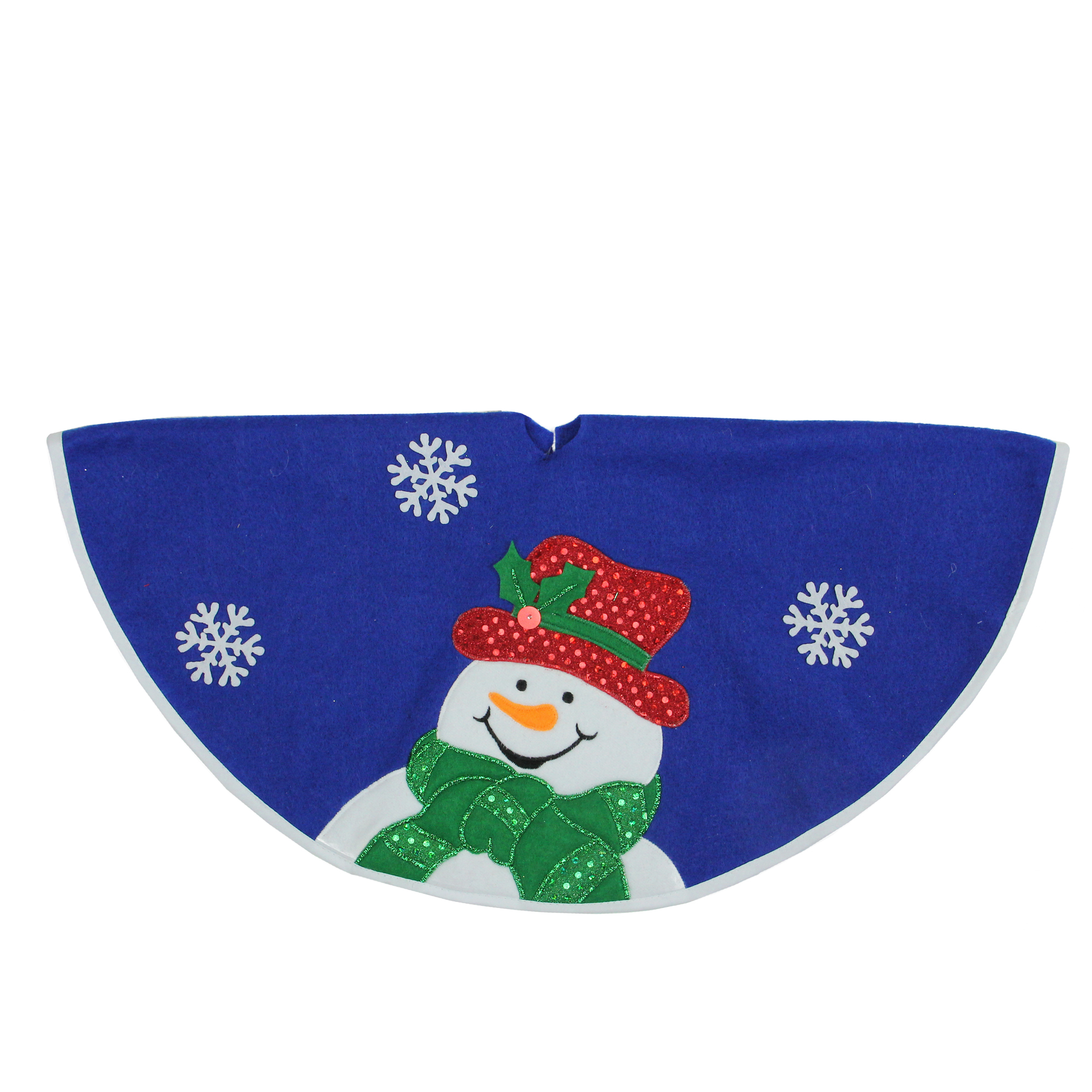 "20"" Blue and White Embroidered Snowman Mini Christmas Tree Skirt"