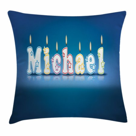 Michael Throw Pillow Cushion Cover, Kids Boys Name Letter Design for Delicious Birthday Party Cake Decoration, Decorative Square Accent Pillow Case, 18 X 18 Inches, Blue and Multicolor, by Ambesonne