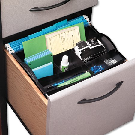 Rubbermaid Desk Accessories - Rubbermaid Hanging Desk Drawer Organizer, Plastic, Black