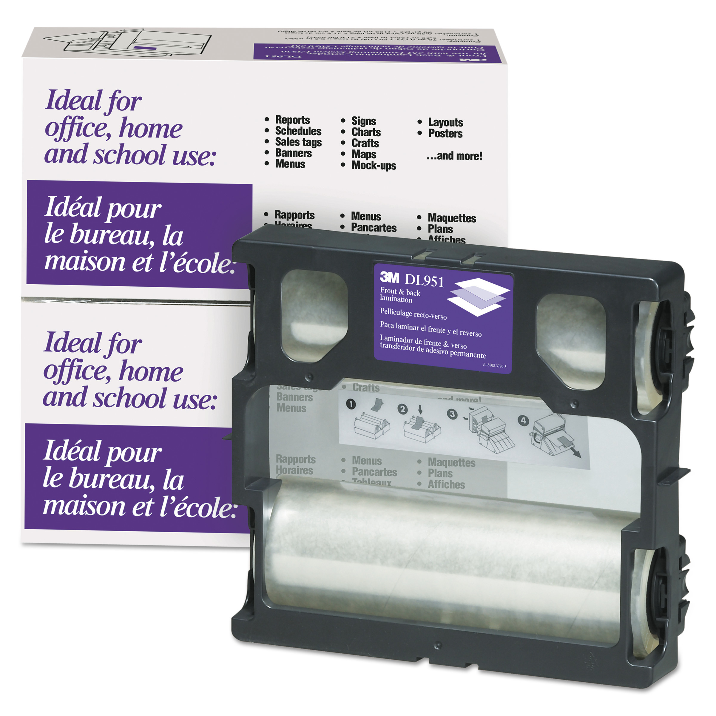 3M Glossy Refill Rolls for Heat-Free Laminating Machines,100 ft. -MMMDL951