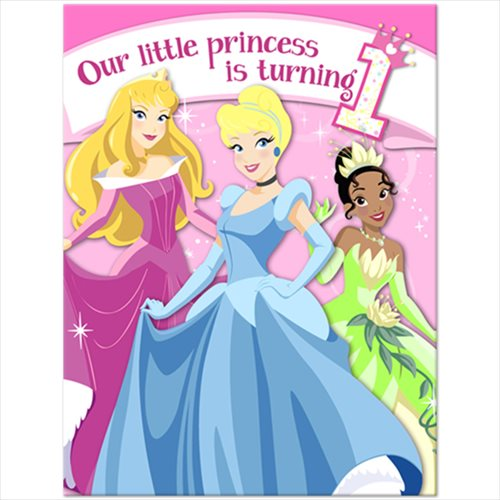 Disney Princess 1st Birthday Invitations w/ Envelopes (8ct)