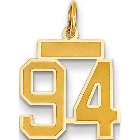 Or 14k Petit satin jaune Num?ro 94 Pendentif / Breloque - image 1 de 1