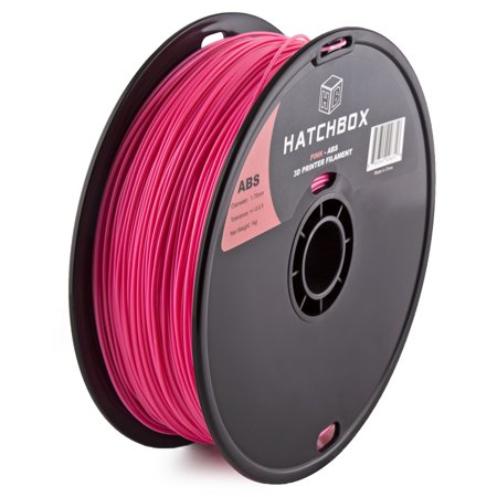HATCHBOX 3D ABS-1KG1.75-PNK ABS 3D Printer Filament, Dimensional Accuracy +/- 0.05 mm, 1 kg Spool, 1.75 mm, Pink