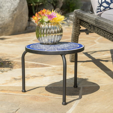 Bryan Outdoor Ceramic Tile Side Table with Iron Frame, Blue and White ()