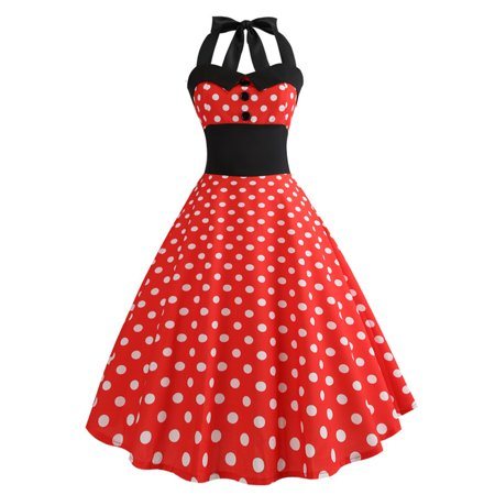 Womens Polka Dot Prom Red Swing Dress 50s 60s Rockabilly Vintage Evening Party