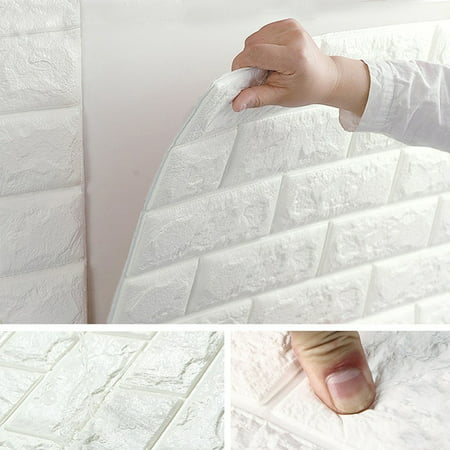 NK 1Pc or 3Pcs or 5Pcs or10 Pcs 3D Self-Adhesive Wall Panels Faux Foam White Brick Wallpaper for TV Walls Sofa Background Wall Decoration Rectangles