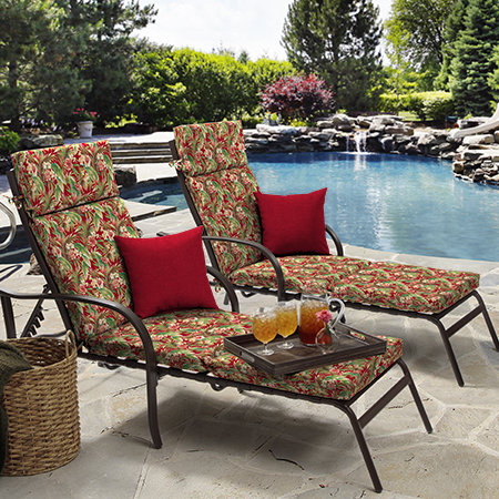 Mainstays Red Tropical Outdoor Cushion Collection