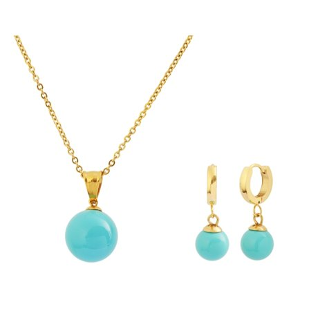 10fc72c1fa5a Edforce Stainless Steel - Edforce 18k Gold Plated Turquoise Shell Pearl  Pendant Pearl Ball Earrings Necklace Jewelry Set
