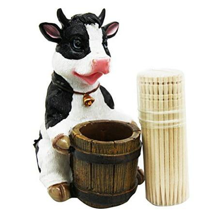 Chow Figurine - Bovine Bell Collar Cow Decorative Toothpick Holder Figurine With Toothpicks