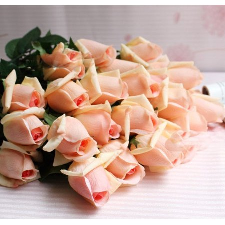 (iMeshbean Real Like Artificial Roses High Quality Latex Real Touch Flowers Wedding Bouquet House Garden Decoration (Pink Champagne,10 Pcs))