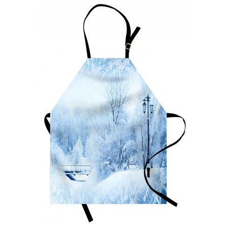 Winter Wonderland 15 Theme (Winter Apron Winter Trees in Wonderland Theme Christmas New Year Scenery Freezing Icy Weather, Unisex Kitchen Bib Apron with Adjustable Neck for Cooking Baking Gardening, Blue White, by)