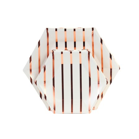 Rose Gold Foil Striped Hexagon Paper Party Plate Sets, 10.5-inch 7.5-inch, 36-Pack,Geometric Party Disposable - Gold Party Cups