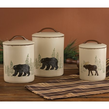 Bear & Moose Stoneware Canister Set - 3 pcs - Lodge Dining Decor