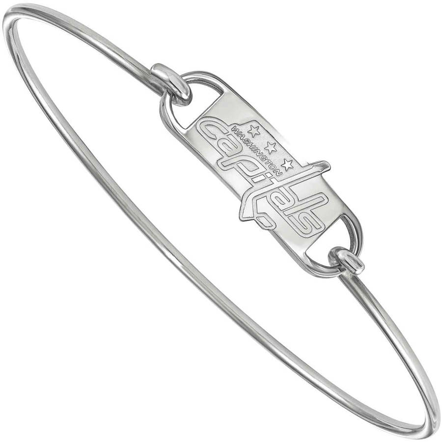 LogoArt NHL Washington Capitals Sterling Silver Wire Bangle Bracelet