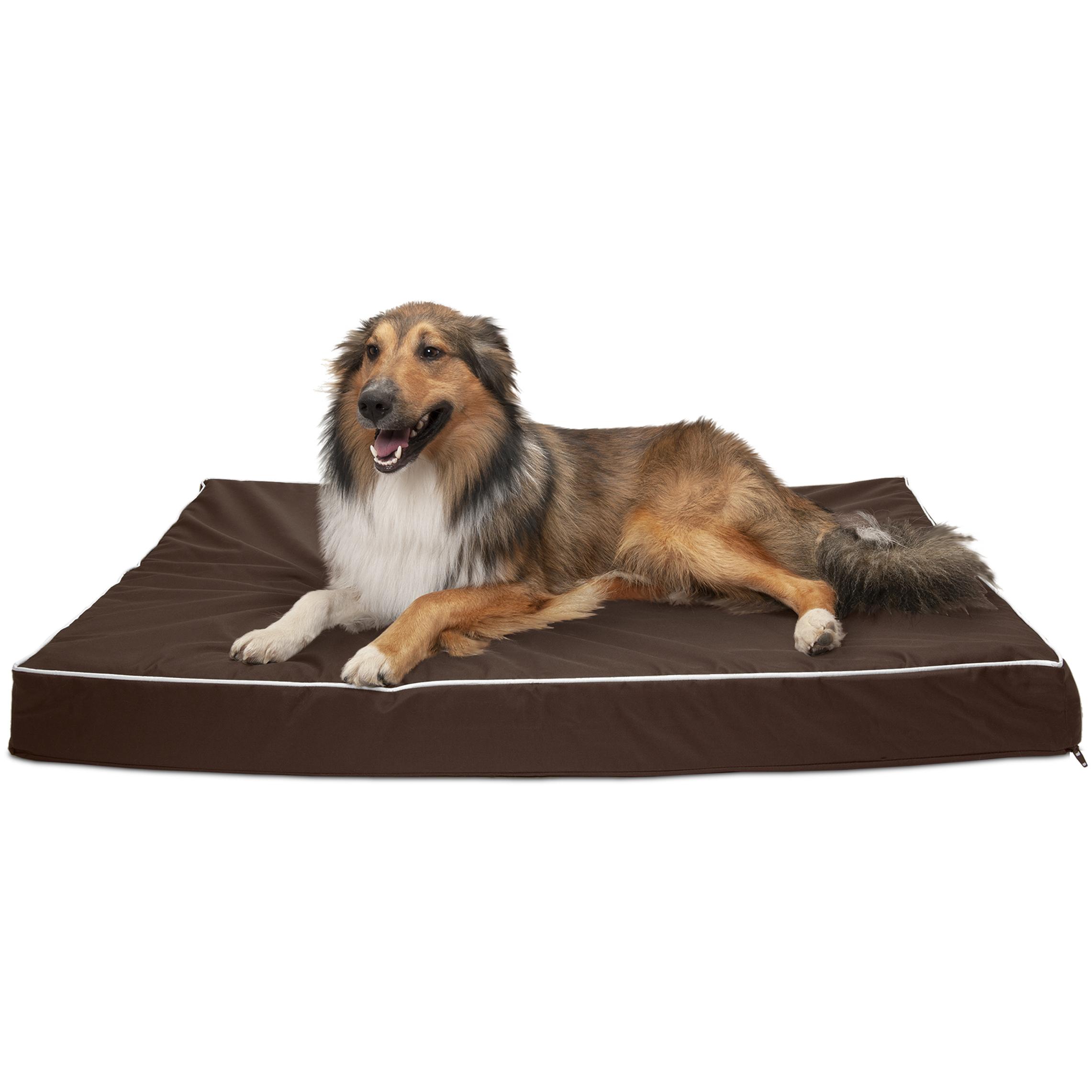 FurHaven Pet Dog Bed | Cooling Gel Memory Foam Orthopedic Indoor/Outdoor Mattress Pet Bed for Dogs & Cats, Solid Espresso, Jumbo