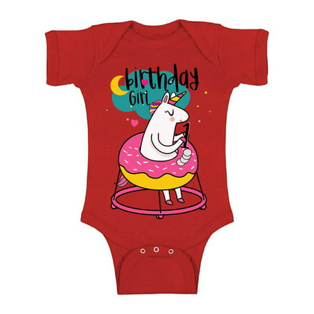 Awkward Styles Birthday Girl Baby Bodysuit Short Sleeve 1st Birthday Party for Baby Girl Unicorn Donut One Piece Top First Birthday Gifts for 1 Year Old Girl Unicorn Birthday Party for Baby