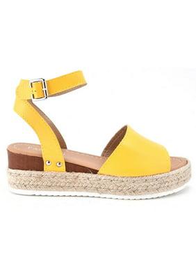 Pccdrv Women's Casual Wedge Heel Open Toe Ankle Strap Espadrilles Sandals