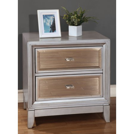 Furniture Of America Golva Silver Tone Nightstand With Gold Tinted Mirror Panels ()