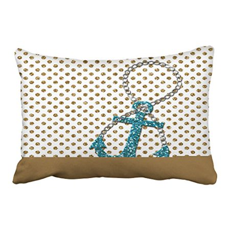 WinHome Rectangl Throw Pillow Covers Shabby Vintage Awesome Faux Glitter Peacock Blue Nautical Anchor Pillowcases Polyester 20 x 30 Inch With Hidden Zipper Home Sofa Cushion Decorative Pillowcase