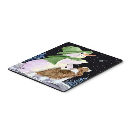 Snowman with English Springer Spaniel Mouse Pad / Hot Pad / Trivet