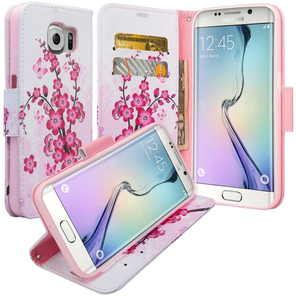 Galaxy S6 Edge Plus Case, Slim Magnetic Flip Kickstand Wrist Strap Leather Wallet Cover - Cherry Blossom