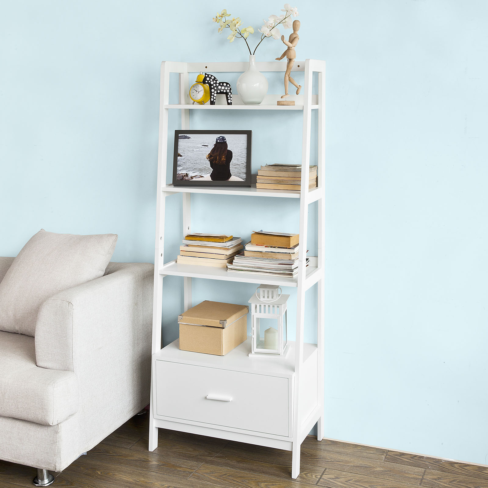 Haotian FRG116-W, White, Storage Display Shelving Ladder Shelf Bookcase with Drawer and 4 Shelves