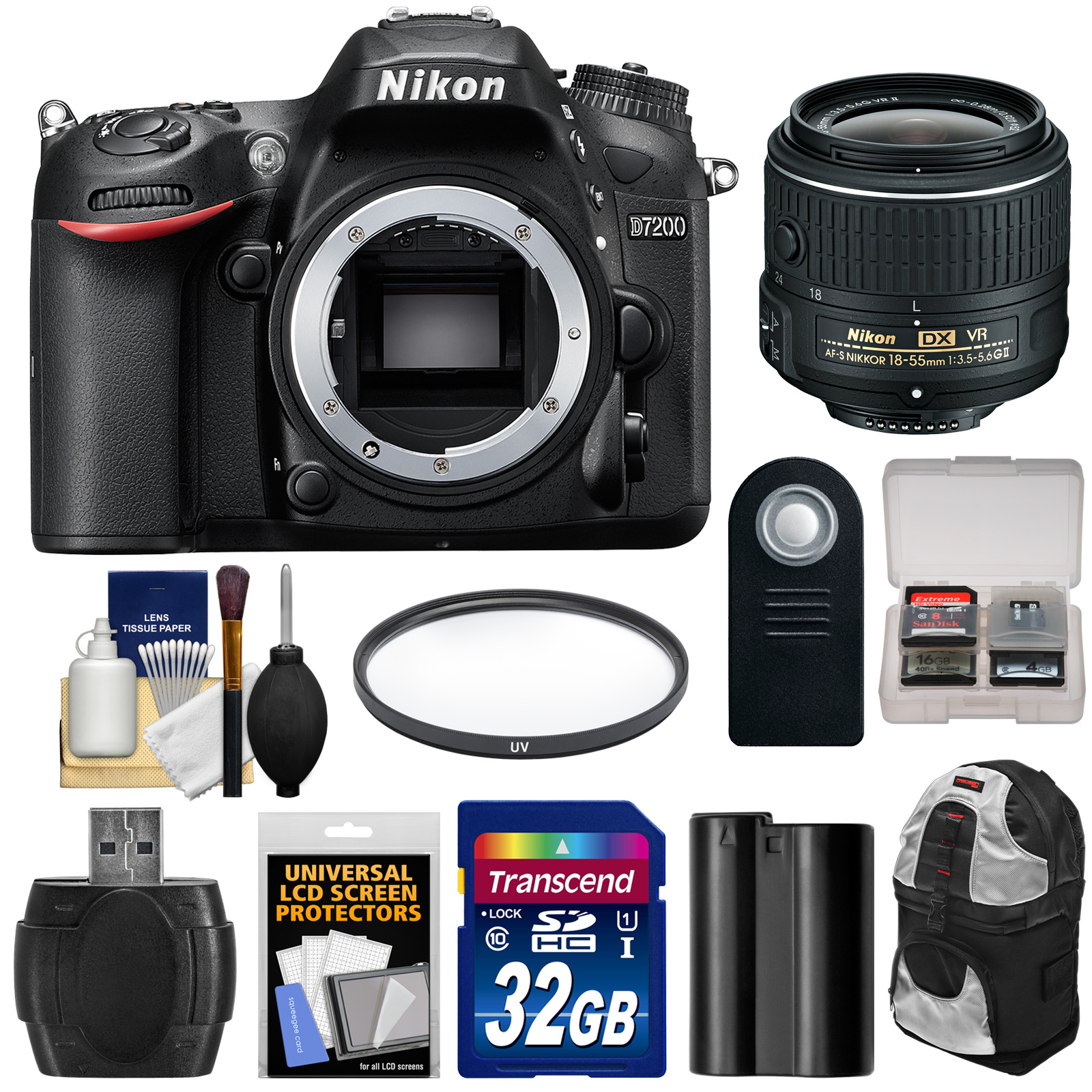 Nikon D7200 Wi-Fi Digital SLR Camera Body - Factory Refurbished with 18-55mm VR II Lens + 32GB Card + Battery + Backpack + Filter + Kit