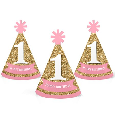 1st Birthday Girl - Fun To Be One - Mini Cone First Birthday Party Hats - Small Little Party Hats - Set of 10](1st Birthday Girl Party Supplies)