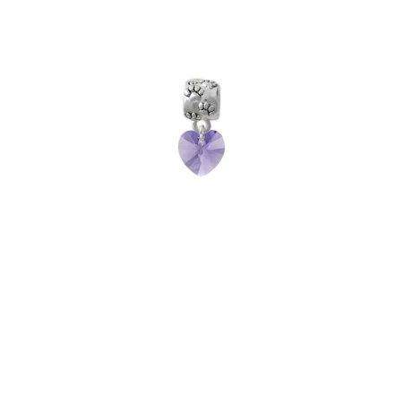Hot Purple Crystal Heart - Paw Print Charm - Purple Heart Charm