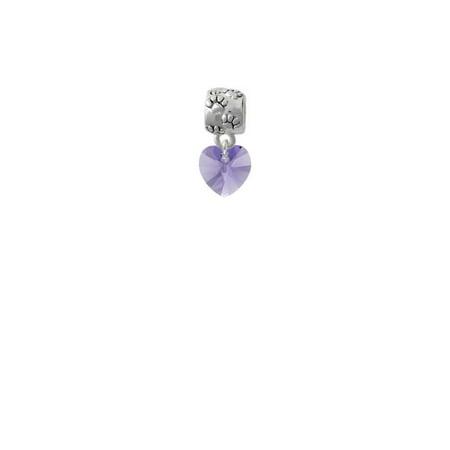 Hot Purple Crystal Heart - Paw Print Charm Bead