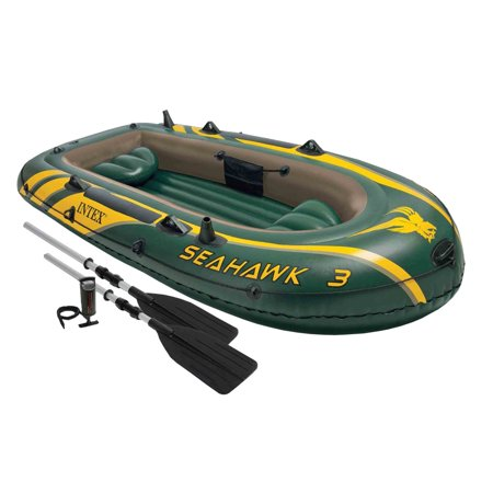 Intex Seahawk 3 Person Inflatable Boat Set with Aluminum Oars & Pump | 68380EP Navigator Inflatable Boat