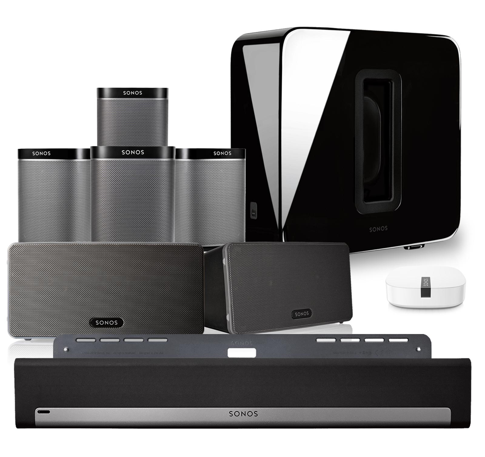 Sonos PLAYBAR, Wall Mount, SUB, PLAY:1 4pk, Play:3 pr, Boost Kit Black