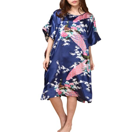 Womens Satin Nightgown, Floral Print Kaftan Sleepwear, One Size Fits up to