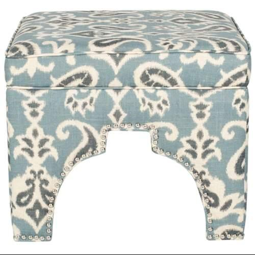 Safavieh MCR4636J Grant Square Ottoman;Blue / Grey and Off White Print