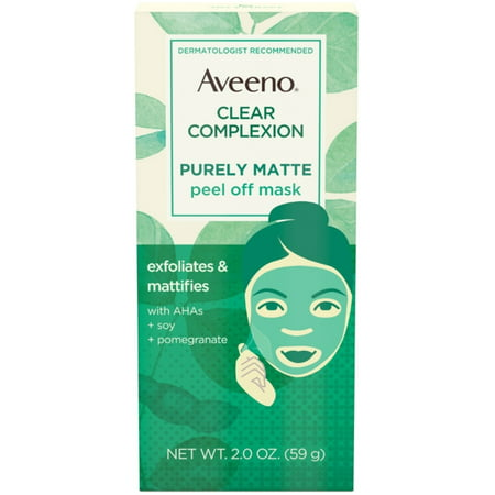 2 Pack - AVEENO Clear Complexion Pure Matte Peel Off Face Mask with Alpha Hydroxy Acids, Soy & Pomegranate for Clearer-L