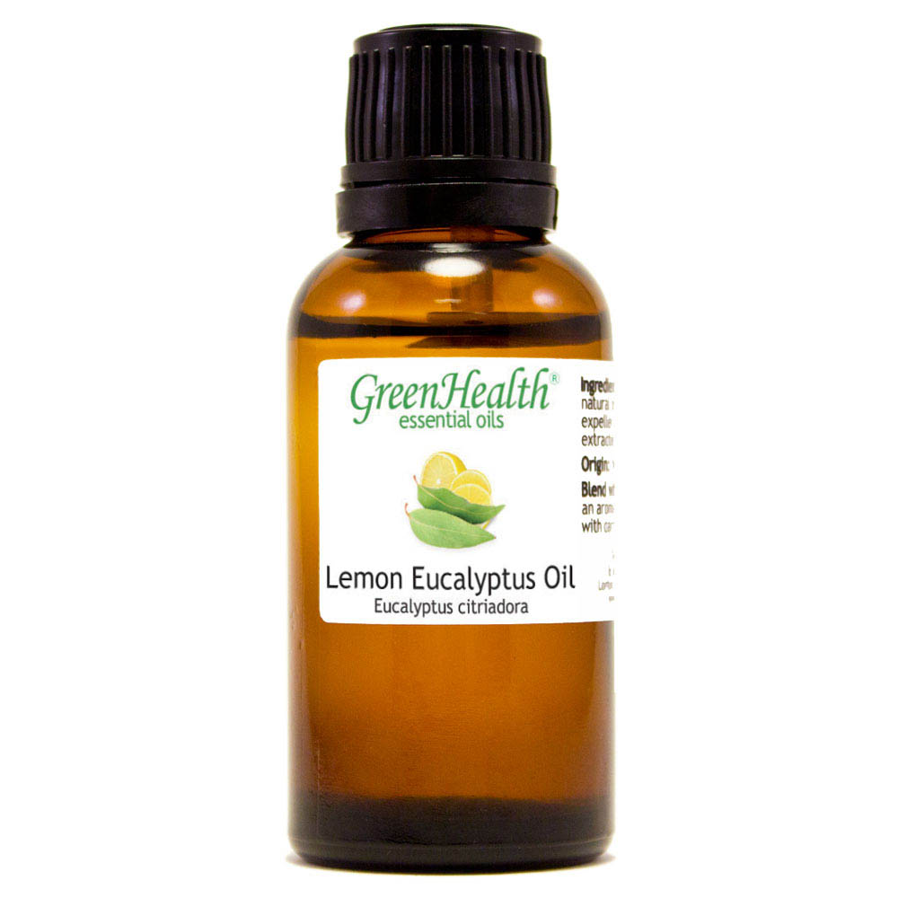 Lemon Eucalyptus Essential Oil - 1 fl oz (30 ml) Glass Bottle w/ Euro Dropper - 100% Pure Essential Oil by GreenHealth