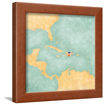 Map Of Caribbean - Dominican Republic (Vintage Series) Framed Print Wall Art By Tindo Dominican Republic Caribbean Framed