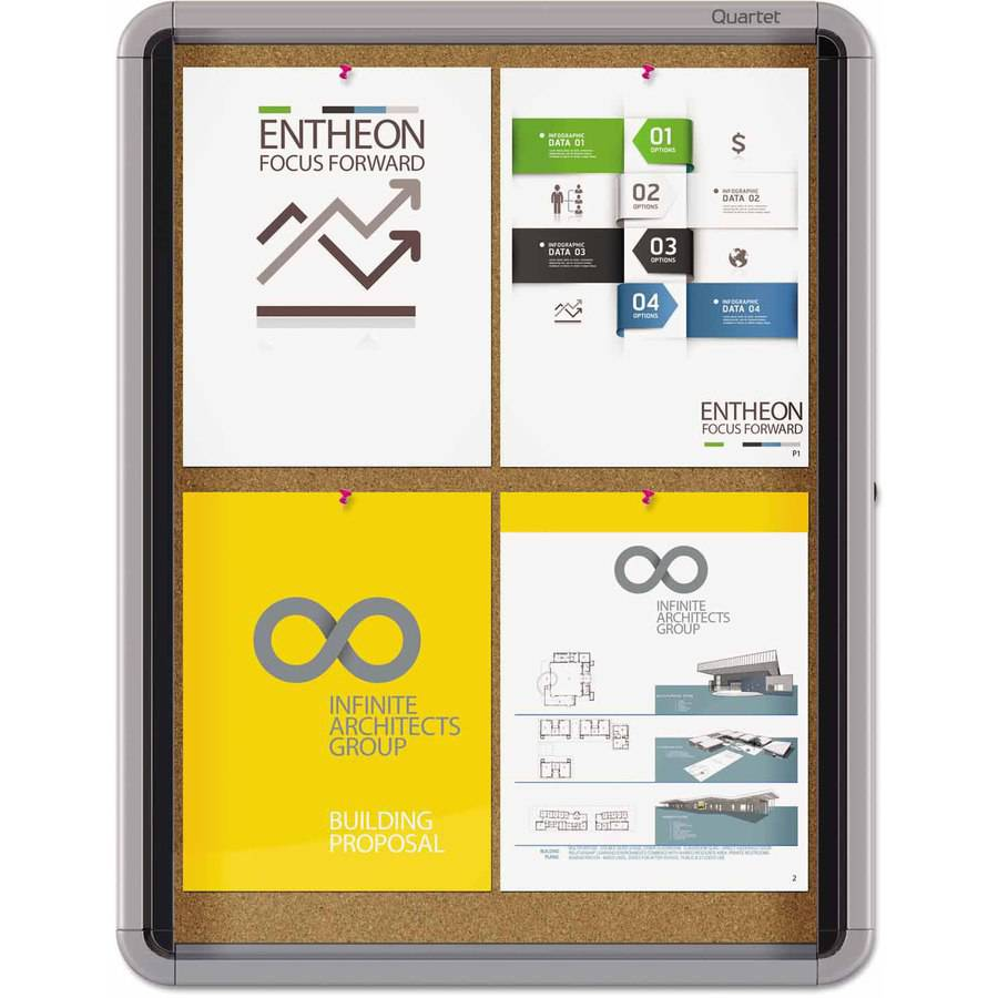 "Quartet Enclosed Cork Bulletin Board with Swing Door, 21"" x 27, Silver Aluminum Frame"